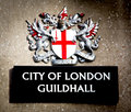 City of london sign the with dragons and shield Royalty Free Stock Image
