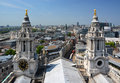 The city of london viewed through the twin towers of st paul s cathedral Royalty Free Stock Photos