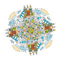 City mandala a handdrawn doodle image decorative ornamental vector illustration in oriental style colorful bright concept useful Royalty Free Stock Photos