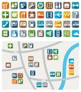 City map color icons service urban services colored flat with symbols of and attractions their location on a for printing and Royalty Free Stock Images
