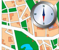 City map with compass Stock Photography