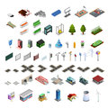 City Map Constructor Isometric Elements Collection Royalty Free Stock Photo