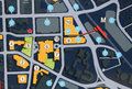 City map illustration with building blocks road streets parking garage locations and other general symbols Royalty Free Stock Photo