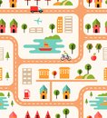 City map seamless background pattern with streets housing icons cyclist park airport lake with boats fuel pump high rise buildings Stock Photography