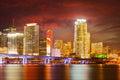 City of Miami Florida, colorful night panorama Royalty Free Stock Photo