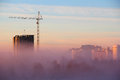 City in the morning fog unusually thick Stock Photography