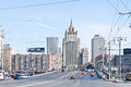 City of moscow cityscape russia april view the borodinsky bridge over the river and the building the ministry foreign affairs Stock Photo