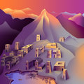 City in the mountains at sunset and the lake Royalty Free Stock Photo
