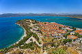 City of nafplio greece aerial view the old part the from palamidi castle there is bourtzi castle in background Stock Images