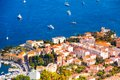 City of nice cityscape in france downtown panorama with boats in the mediterranean sea Stock Image