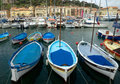 City of nice colorful boats in the port de nice france april on april france was started Stock Photos