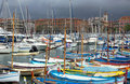 City of nice colorful boats in the port de nice france april on april france was started Royalty Free Stock Photos