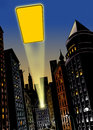 City at night with flash of light in the sky illustration background Royalty Free Stock Photo