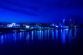 City night lights river Royalty Free Stock Photo