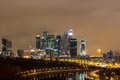 City at night moscow at night business center Stock Images