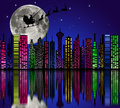 City at night santa on sky marry christmas Royalty Free Stock Photos