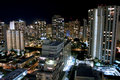 City night scene of Waikiki, Honolulu. Stock Photo