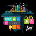 City at night vector illustration with infographic elements Stock Photography