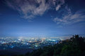 City night view from the point on top of mountain chiangmai thailand Stock Photo
