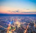 City nightfall scene look down from above urban in shanghai Stock Photography