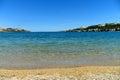City novalja island pag adriatic sea croatia pebble beach planjka old town novalja region dalmatia Royalty Free Stock Photo