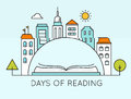 City and Open Book. Days of Reading Sign. Literature and Library Days Vector Illustration or Poster Template