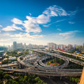 City overpass in early morning aerial view of the shanghai china Stock Photo