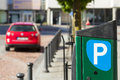 City paid parking for cars automatic charge a fee in fees Royalty Free Stock Photography