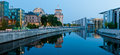 City panorama berlin germany with reichstagufer and spree river in at night Royalty Free Stock Images