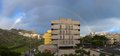 City Panorama With Rainbow Royalty Free Stock Photography