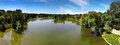 City park panorama view in summer and hot sun Royalty Free Stock Photography