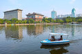 City park scenery tourists driving pleasure boat in the lake of children in taiyuan shanxi china Stock Photography