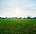 City park sunny evening before sunset in a overlooking the of cuxhaven germany Royalty Free Stock Photo