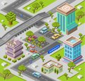 City parking lot isometric 3D vector illustration of modern urban office buildings and cars parking area map Royalty Free Stock Photo
