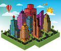 City in perspective vector illustration of colorful Royalty Free Stock Photos