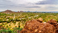 The city of Phoenix in the valley of the Sun seen from the Red Sandstone Buttes in Papago Park Royalty Free Stock Photo