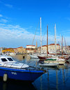 The city of piran slovenia in summer a view and a clear blue sky from yatch harbour Stock Photos