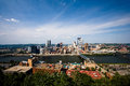 The city of pittsburgh looking down on Royalty Free Stock Images