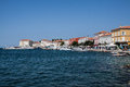 City of porec view at marina with boats in croatia Royalty Free Stock Images