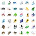 City power icons set, isometric style Royalty Free Stock Photo
