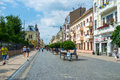 The city promenade chernivtsi ukraine june street of olha kobylanska is central pedestrian walkway with scenic trees and tiny Royalty Free Stock Photography