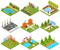 City Public Park or Square Objects Set Icons 3d Isometric View. Vector