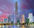 City and rainbow, Shenzhen, China Royalty Free Stock Photo