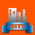 City ribbon badge illustration with the theme of on a orange surface Royalty Free Stock Photos