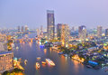 City with river at twilight chao phraya bangkok thailand Stock Photography