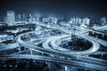 City road junction at night Royalty Free Stock Photo