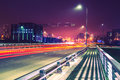 City road night scene Royalty Free Stock Photo