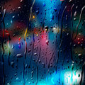City road at night view through wet glass vector eps image Stock Image