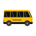 City road yellow taxi bus transport vector illustration.