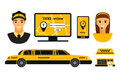 City road yellow taxi transport vector illustration.